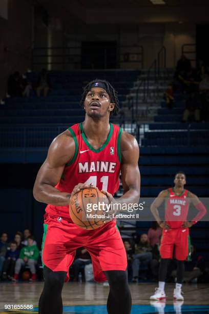 Devin Williams of the Maine Red Claws shoots a free throw against the Delaware 87ers during a GLeague game on March 13 2018 at the Bob Carpenter...