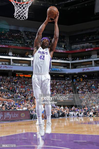 Devin Williams of the Sacramento Kings gets the rebound against the Golden State Warriors on July 3 2018 at Golden 1 Center in Sacramento California...