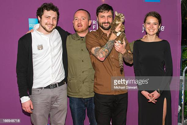Devin Yuceil director Andy Capper cat owner Mike Bridavsky celebrity internet cat Lil Bub and director Juliette Eisner attend the screening of Lil...
