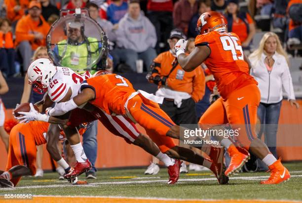 Devine Ozigbo of the Nebraska Cornhuskers dives for a touchdown during the game against the Illinois Fighting Illini at Memorial Stadium on September...