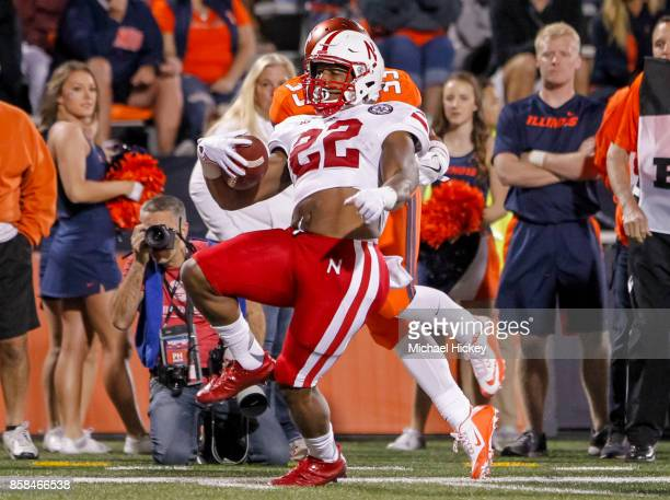 Devine Ozigbo of the Nebraska Cornhuskers runs the ball during the game against the Illinois Fighting Illini at Memorial Stadium on September 29 2017...