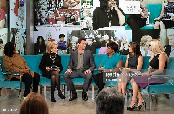 """Devious Maids"""" Ana Ortiz is a guest co-host and Hugh Jackman is a guest on """"THE VIEW,"""" 9/18/13 airing on the Walt Disney Television via Getty Images..."""