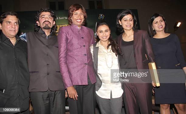 Devita Saraf Rani Mukherjee Anjum Chopra and Jatin Pandit at the launch of book Women`s Cricket World coauthored by former India women cricket team...