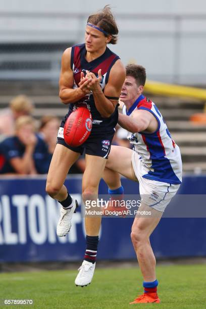 Devlin Brereton of the Sandringham Dragons son of Hawthorn Hawks Legend Dermott Brereton competes for the ball during the 2017 TAC round 01 match...