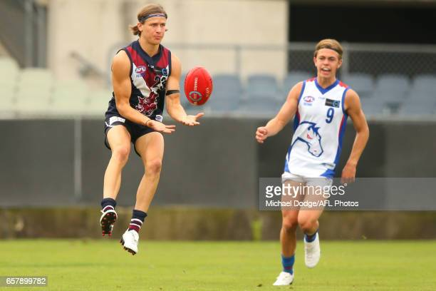 Devlin Brereton of the Sandringham Dragons son of Hawthorn Hawks Legend Dermott Brereton marks the ball during the 2017 TAC round 01 match between...