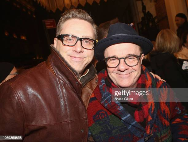 Devlin Elliott and husband Nathan Lane pose at the opening night of the play Network on Broadway at The Belasco Theatre on December 6 2018 in New...