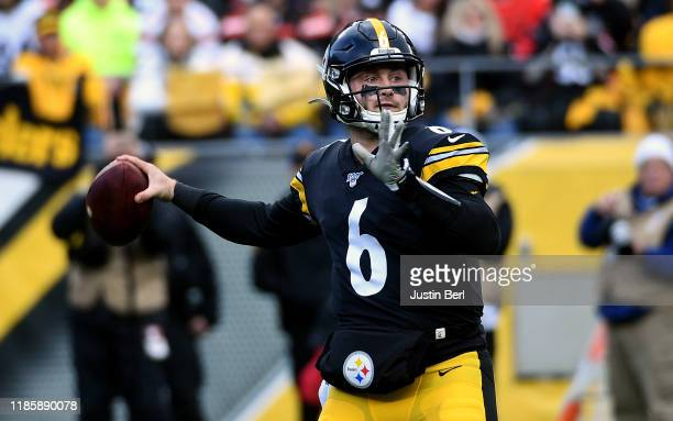 Devlin Hodges of the Pittsburgh Steelers drops back to pass in the second quarter during the game against the Cleveland Browns at Heinz Field on...
