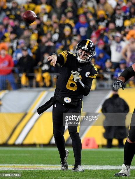 Devlin Hodges of the Pittsburgh Steelers drops back to pass in the fourth quarter during the game against the Buffalo Bills at Heinz Field on...