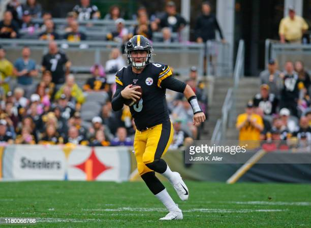 Devlin Hodges of the Pittsburgh Steelers in action against the Baltimore Ravens on October 6 2019 at Heinz Field in Pittsburgh Pennsylvania
