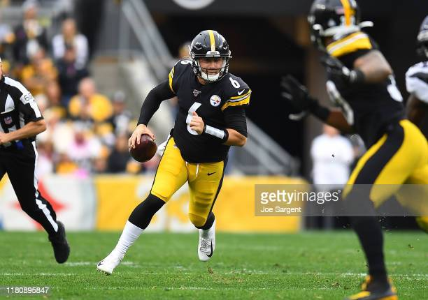 Devlin Hodges of the Pittsburgh Steelers in action during the game against the Baltimore Ravens at Heinz Field on October 6 2019 in Pittsburgh...