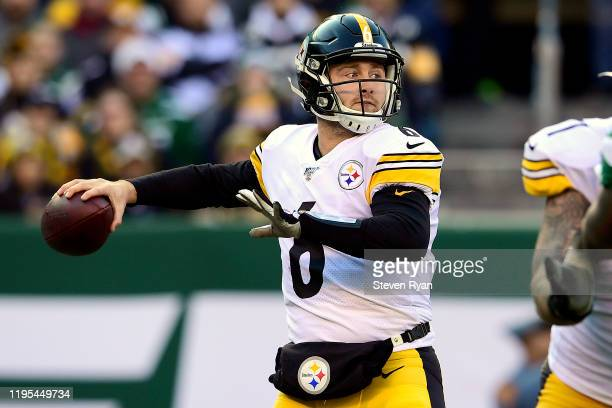Devlin Hodges of the Pittsburgh Steelers looks to pass against the New York Jets during the first half at MetLife Stadium on December 22, 2019 in...