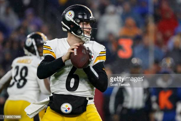 Devlin Hodges of the Pittsburgh Steelers looks to pass against the Baltimore Ravens during the first half at M&T Bank Stadium on December 29, 2019 in...