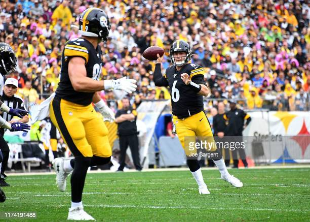Devlin Hodges of the Pittsburgh Steelers looks to pass during the second half against the Baltimore Ravens at Heinz Field on October 6 2019 in...