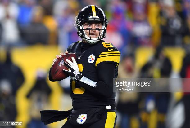 Devlin Hodges of the Pittsburgh Steelers looks to pass during the first half against the Buffalo Bills in the game at Heinz Field on December 15,...