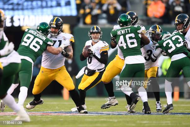 Devlin Hodges of the Pittsburgh Steelers looks to pass the ball during the second half of the game against the New York Jets at MetLife Stadium on...