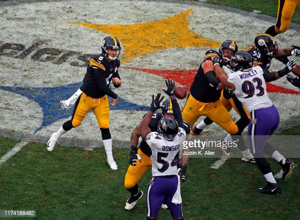 Devlin Hodges of the Pittsburgh Steelers passes against the Baltimore Ravens on October 6 2019 at Heinz Field in Pittsburgh Pennsylvania