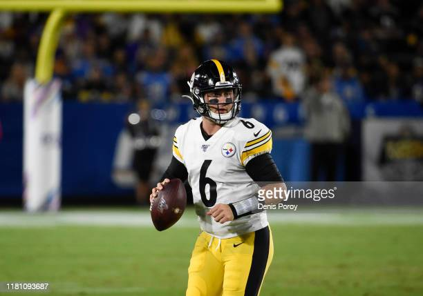 Devlin Hodges of the Pittsburgh Steelers plays during a game against the Los Angeles Chargers at Dignity Health Sports Park October 13 2019 in Carson...