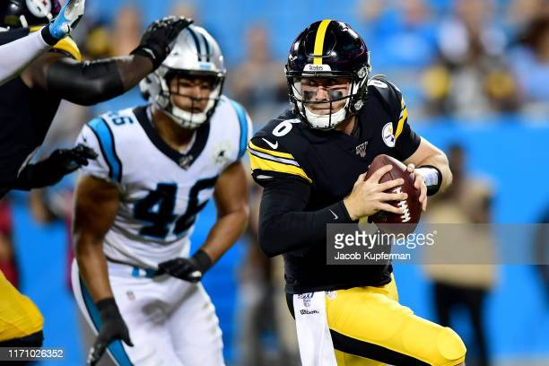 Devlin Hodges of the Pittsburgh Steelers runs with the ball during their preseason game against the Carolina Panthers at Bank of America Stadium on...