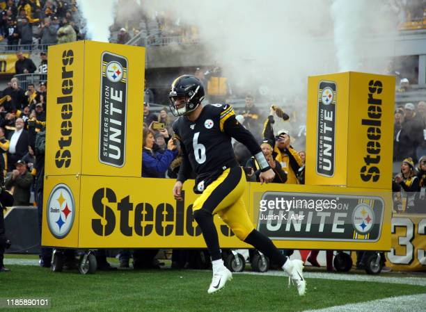 Devlin Hodges of the Pittsburgh Steelers takes the field before a game against the Cleveland Browns on December 1, 2019 at Heinz Field in Pittsburgh,...