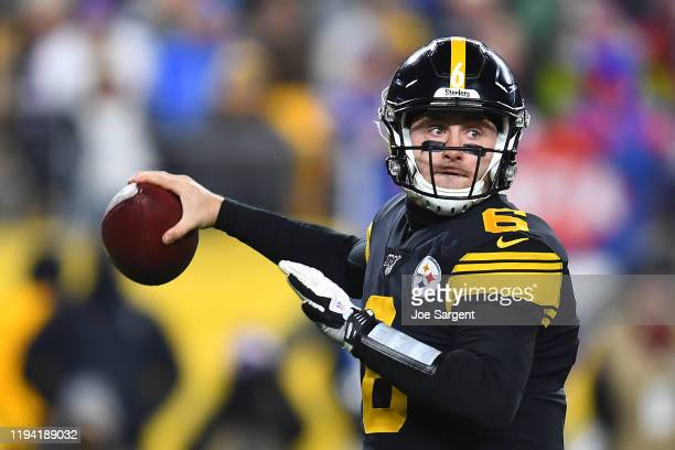 Devlin Hodges of the Pittsburgh Steelers throws a pass during the first half against the Buffalo Bills in the game at Heinz Field on December 15,...