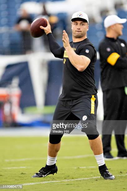Devlin Hodges of the Pittsburgh Steelers warms up before a game against the Tennessee Titans during week three of preseason at Nissan Stadium on...