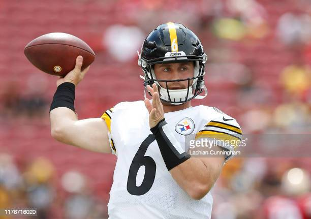 Devlin Hodges of the Pittsburgh Steelers warms up before the game against the San Francisco 49ers at Levi's Stadium on September 22 2019 in Santa...