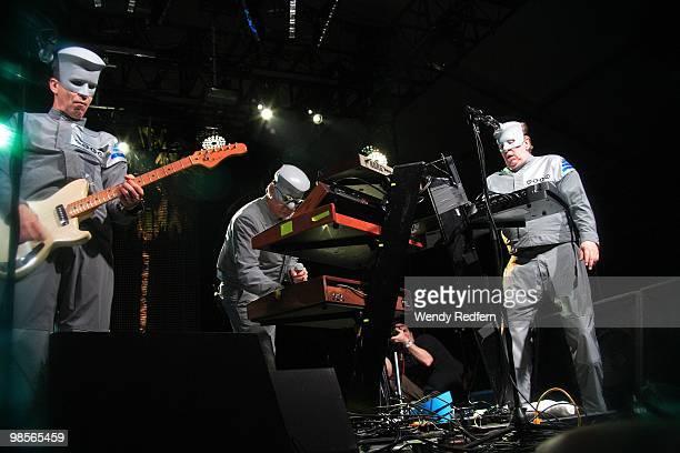 Devo performs on day 3 of Coachella Valley Music Arts Festival 2010 on April 18 2010 in Coachella California