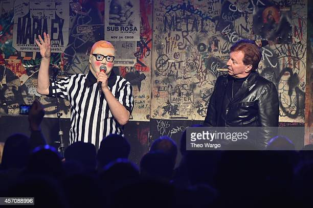 Devo speaks onstage the CBGB Music Film Festival 2014 as CBGB Presents Jane's Addiction with the CBGB Icon Award on October 11 2014 in New York City