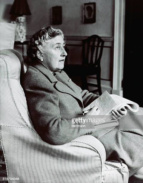 Agatha Christie corrects proofs of her latest book/devonshire Jan 1946