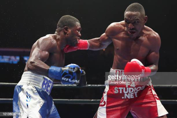 Devon Alexander lands a right hand against Andre Berto Berto would win by split decision at the Nassau Veterans Memorial Coliseum on August 4 2018 in...
