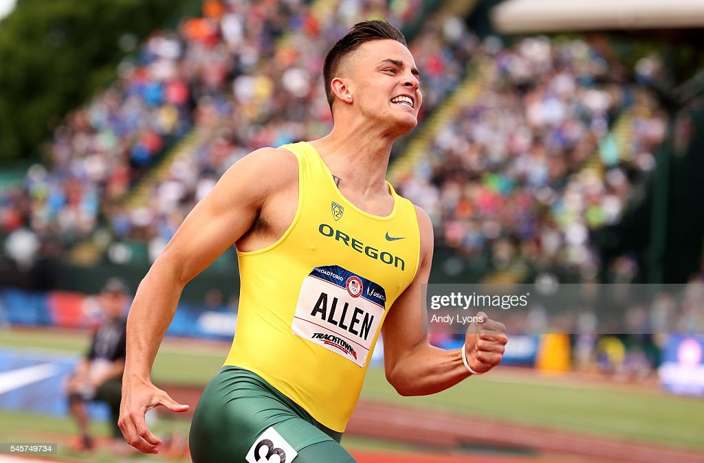 Devon Allen celebrates after placing first in the Men's 110 Meter Hurdles Final during the 2016 U.S. Olympic Track & Field Team Trials at Hayward Field on July 9, 2016 in Eugene, Oregon.