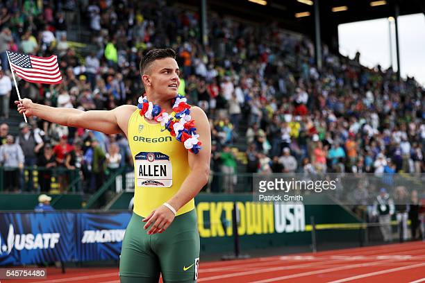 Devon Allen celebrates after placing first in the Men's 110 Meter Hurdles Final during the 2016 US Olympic Track Field Team Trials at Hayward Field...