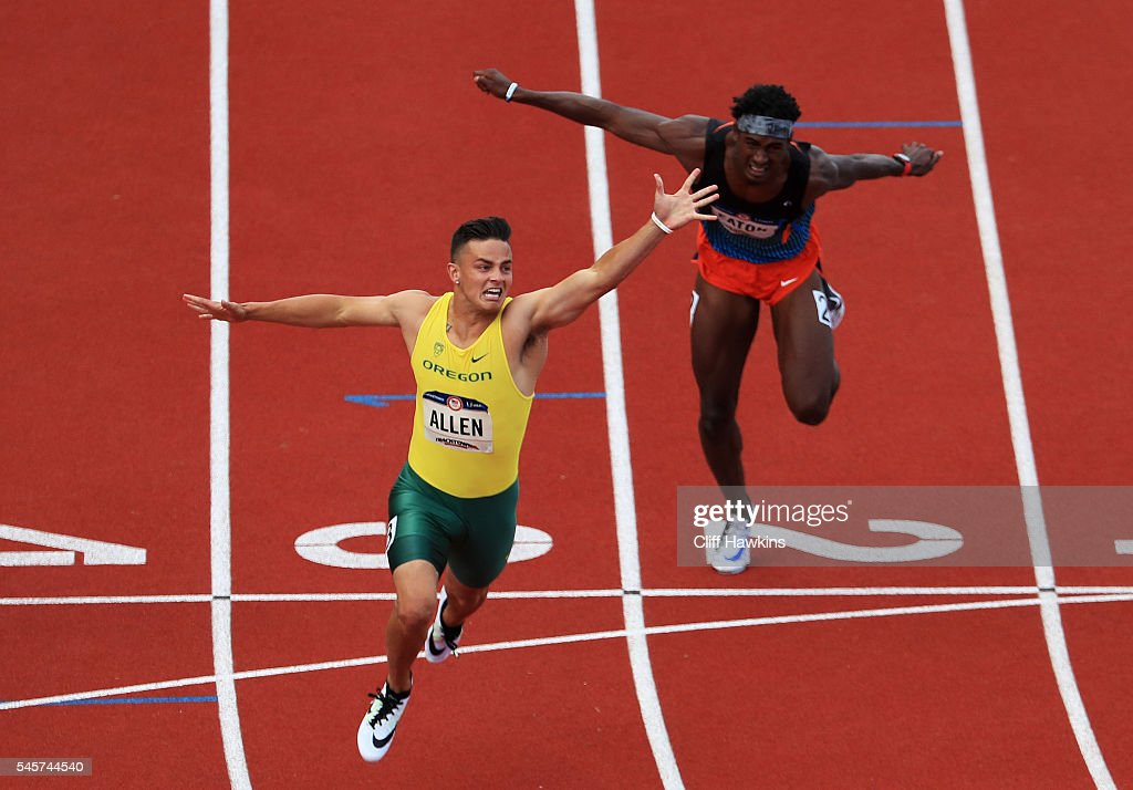Devon Allen crosses the finishline to place first in the Men's 110 Meter Hurdles Final during the 2016 U.S. Olympic Track & Field Team Trials at Hayward Field on July 9, 2016 in Eugene, Oregon.