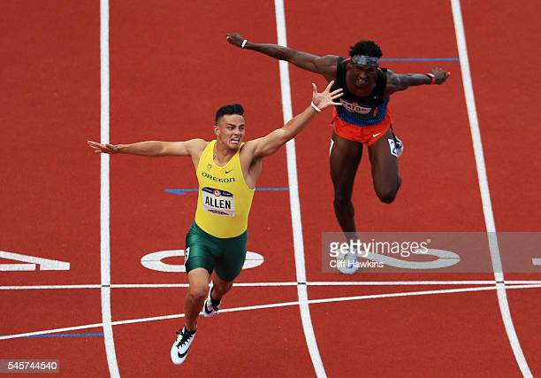Devon Allen crosses the finishline to place first in the Men's 110 Meter Hurdles Final during the 2016 US Olympic Track Field Team Trials at Hayward...