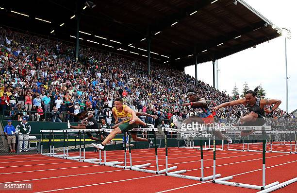 Devon Allen first place lead the field in the Men's 110 Meter Hurdles Final during the 2016 US Olympic Track Field Team Trials at Hayward Field on...