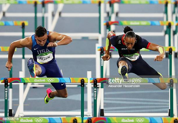 Devon Allen of the United States and Pascal MartinotLagarde of France compete in the Men's 110m Hurdles Semifinals on Day 11 of the Rio 2016 Olympic...