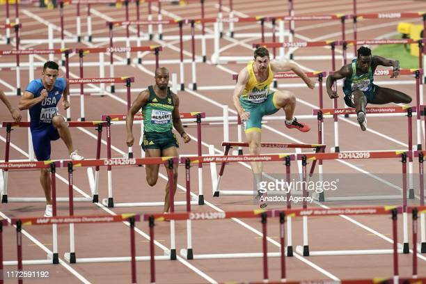 Devon Allen of the United States Antonio Alkana of South Africa Nicholas Hough of Australia and Gabriel Constantino of Brazil compete in the Men's...