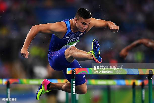 Devon Allen of the United States competes during the Men's 110m Hurdles Round 1 Heat 4 on Day 10 of the Rio 2016 Olympic Games at the Olympic Stadium...