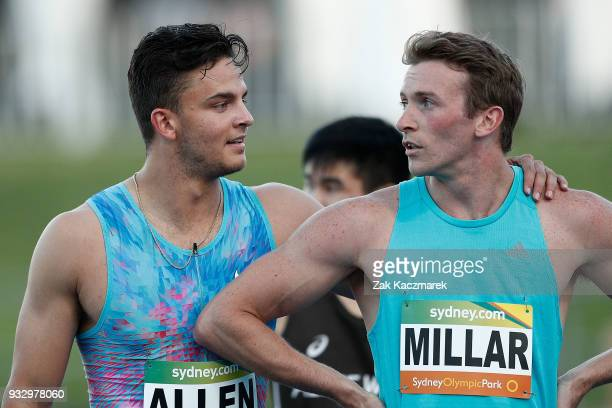 Devon Allen of the United States of America reacts after winning the Men's 100 metre run during the 2018 Sydney Athletics Grand Prix at Sydney...