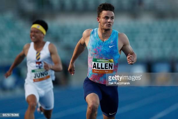 Devon Allen of the United States of America wins the Men's 100 metre run during the 2018 Sydney Athletics Grand Prix at Sydney olympic Park Athletics...