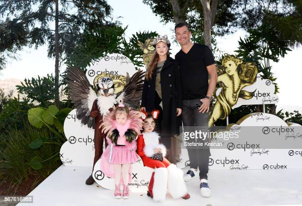Devon Aoki CYBEX Founder Martin Pos and kids at the Cybex by Jeremy Scott Cherub Halloween Launch Celebration on October 28 2017 in Los Angeles...