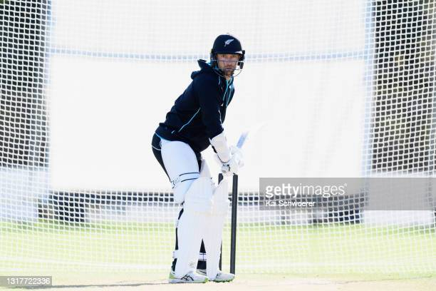 Devon Conway looks to bat during a New Zealand Blackcaps training session at the New Zealand Cricket High Performance Centre on May 13, 2021 in...