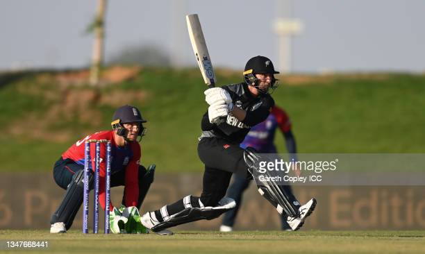 Devon Conway of New Zealand bats during the England and New Zealand warm Up Match prior to the ICC Men's T20 World Cup at on October 20, 2021 in Abu...