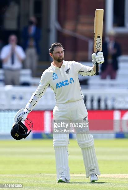Devon Conway of New Zealand celebrates reaching his double century during Day 2 of the First LV= Insurance Test Match between England and New Zealand...