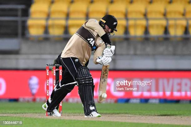 Devon Conway of the Black Caps during game four of the International T20 series between New Zealand Blackcaps and Australia at Sky Stadium on March...