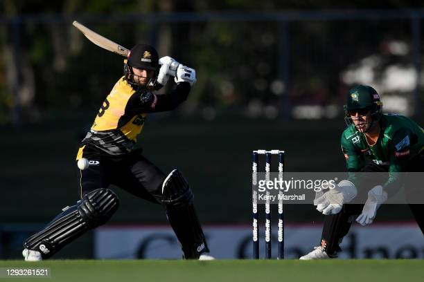 Devon Conway of the Wellington Firebirds plays a shot during the Super Smash T20 match between the Central Stags and the Wellington Firebirds at...