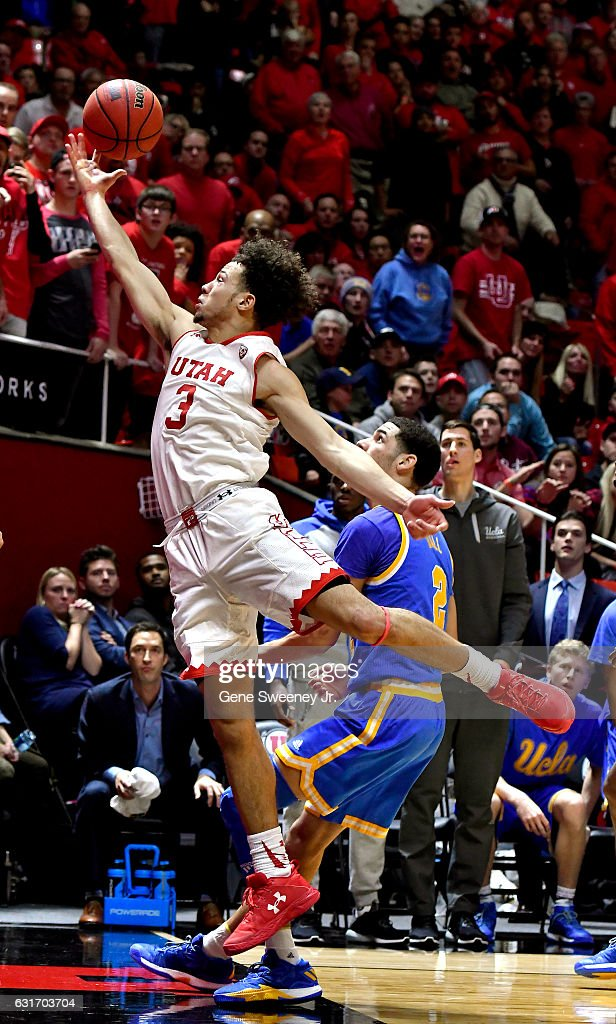 Devon Daniels #3 of the Utah Utes tries for the rebound with Lonzo Ball #2 of the UCLA Bruins defending, in the second half of the Bruins 83-82 win at the Jon M. Huntsman Center on January 14, 2017 in Salt Lake City, Utah.