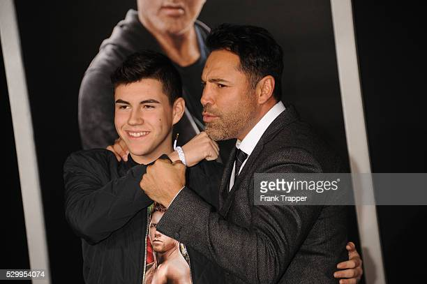 Devon De La Hoya and father boxer Oscar De La Hoya arrive at the premiere of Creed held at the Regency Village Theater in Westwood