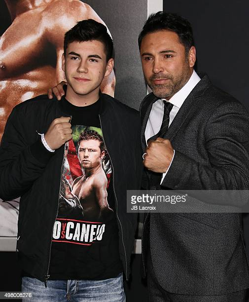 Devon De La Hoya and Oscar De La Hoya attend Warner Bros Pictures' 'Creed' Premiere at Regency Village Theatre on November 19 2015 in Westwood...