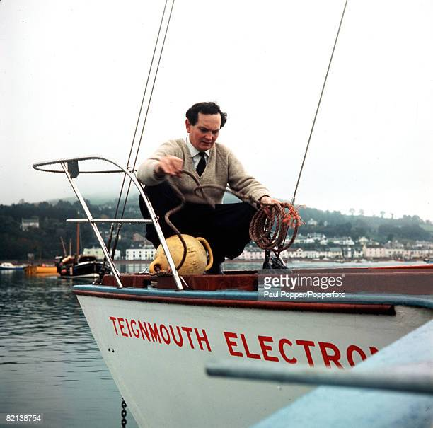 Devon England British yachtsman Donald Crowhurst is pictured aboard Teignmouth Electron prior to sailing in the Sunday Times Golden Globe...